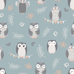 "Vector repeat pattern with cute owls on green background. Hand-drawn style, pastel colors. One of "" The Owls"" collection patterns."