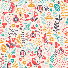 seamless pattern with birds and plant ornament
