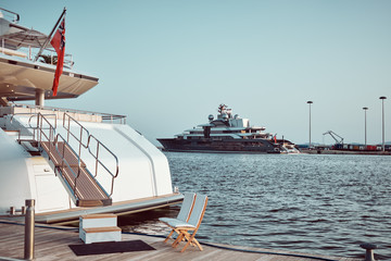 big yacht luxury - Entrance detail - copy space - very important people concept .
