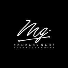 Fototapeta MG initials signature logo. Handwriting logo vector templates. Hand drawn Calligraphy lettering Vector illustration. obraz