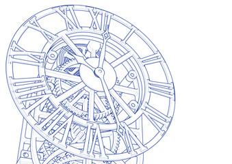 clock mechanism sketch 3d illustration