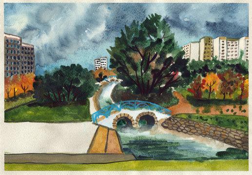 autumn city park river pond watercolor illustration