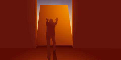 Concept de l'évasion et de la liberté, avec un homme qui trouve une issue pour s'échapper de sa prison, en poussant un mur il découvre la lumière. Wall mural