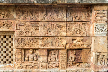View at the Decorative stone relief of Parsurameswara Temple in Bhubaneswar  - Odisha, India