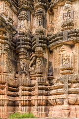 View at the Decorative stone relief of Suka Temple in Bhubaneswar  - Odisha, India