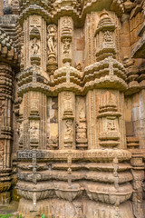 View at the Decorative stone relief of Chitrakarini Temple in Bhubaneswar  - Odisha, India