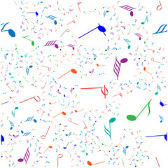 music background on white. For fabric, baby clothes, background, textile, wrapping paper and other decoration. Vector seamless pattern EPS 10