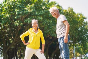 senior asian couple exercising in park