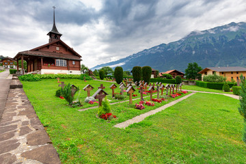 The Swiss village of Iseltwald on the famous lake Brienz.