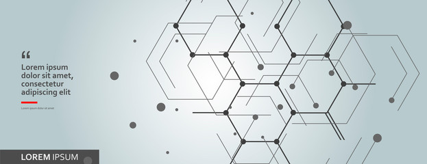 Vector network hexagon and connected cells background Wall mural