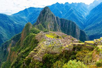 View of the ancient city of Machu Picchu, Peru. Wall mural