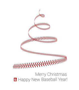 Christmas tree twisted in the form of lacing from a baseball. Vector 3d illustration on a white