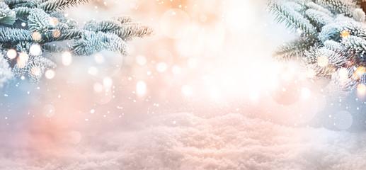 Winter landscape christmas concept