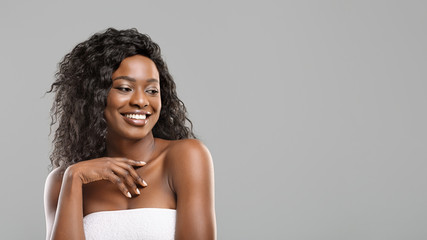 Fototapete - Beauty portrait of afro girl with white smile and flawless skin