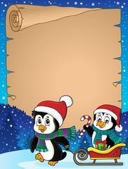 Deurstickers Voor kinderen Christmas penguin and sledge parchment 2