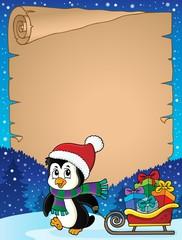 Deurstickers Voor kinderen Christmas penguin and sledge parchment 3