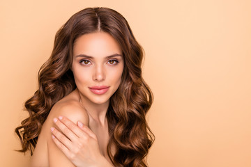 Obraz Close-up portrait of nice attractive feminine sensual gorgeous wavy-haired girl touching soft silky shoulder domestic house daily procedure clay bath mask isolated on beige pastel color background - fototapety do salonu