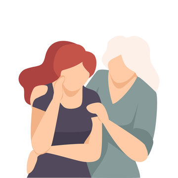 Woman Embracing Crying Female and Soothing Her Vector Illustration