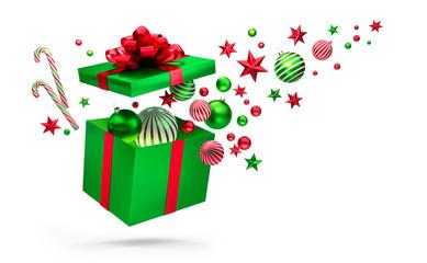Offene Geschenkbox in Grün und Rot mit Weihnachtsschmuck
