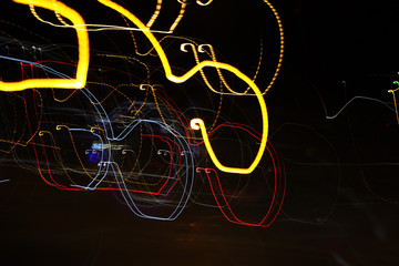 Colorful abstract line light art. Conceptual art showing motion, pulse of the city of Helsinki & darkness of the night. Created by moving camera with long exposure in the city during night