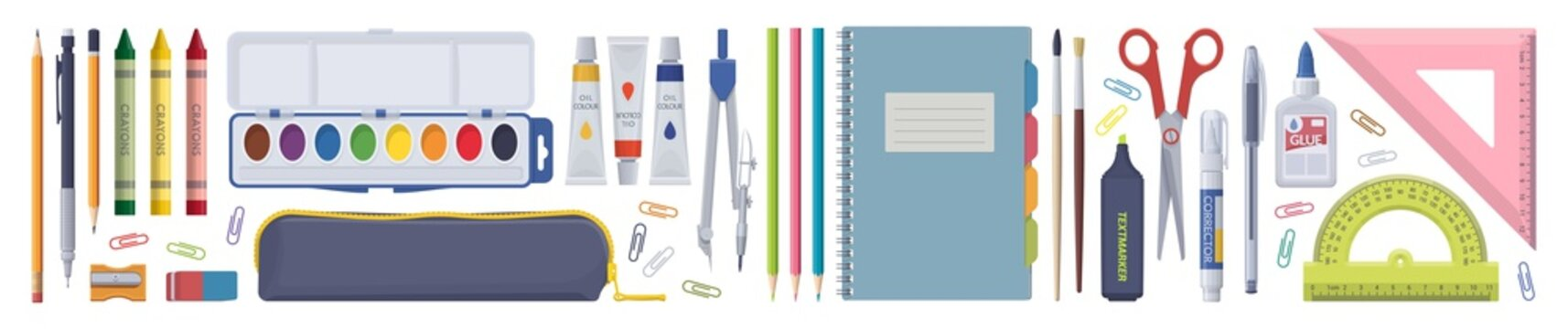 Stationery set. School items. Vector flat isolated illustration