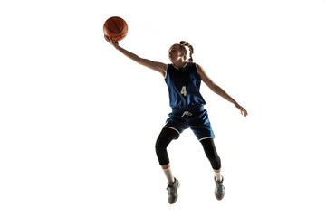 Young caucasian female basketball player of team in action, motion in jump isolated on white...