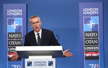 NATO Secretary General Jens Stoltenberg speaks during the annual NATO heads of government summit at the Grove Hotel in Watford