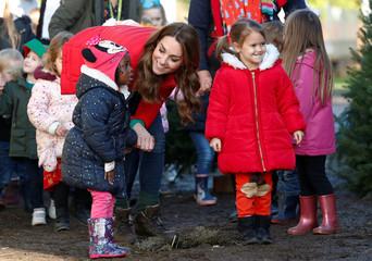 Britain's Catherine, Duchess of Cambridge, visits Peterley Manor Farm in Buckinghamshire