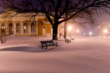 Fotobehang - Night photo of city streets during a snowfall. historical center, alley with benches. Odessa. Ukraine.