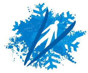 Ski Jumper on Snowflakes grunge background. Illustration of Ski Jumper flying in v-style. Isolated on white background. Vector available.