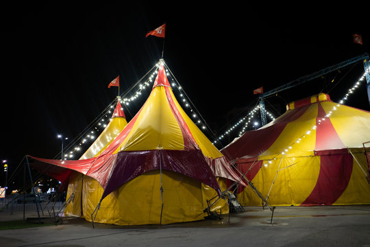 the colorful circus tent in the city at night against the sky