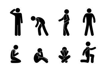 stick figure people icon, man pictogram, isolated human silhouette, people stand and sit in different poses