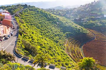 Volcanic landscape of Caldera de Bandama, Gran Canaria island, Spain. Picturesque view from Pico de Bandama