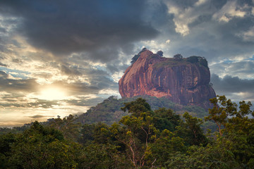 Sigiriya (Lion's rock) with a dramatic sunset