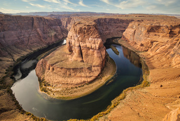 Aerial shot of the famous Horseshoe Bend and Colorado river, AZ
