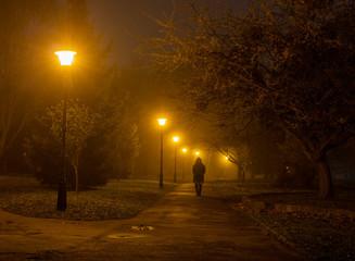 Keuken foto achterwand Smal steegje Night misty park and passerby man