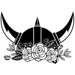 Floral viking helmet Vector Design
