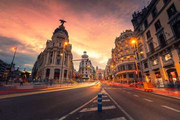 Gran Via, main street of Madrid, Spain.