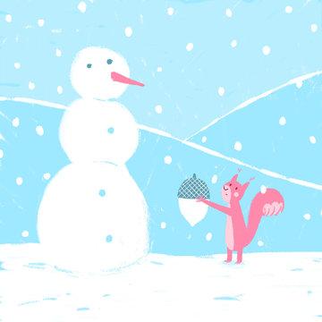 A squirrel and a snowman