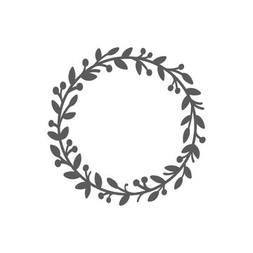 Christmas wreath. Laurel wreath. Hand drawn vector round frame for invitations, postcards, posters and more. Vector illustration