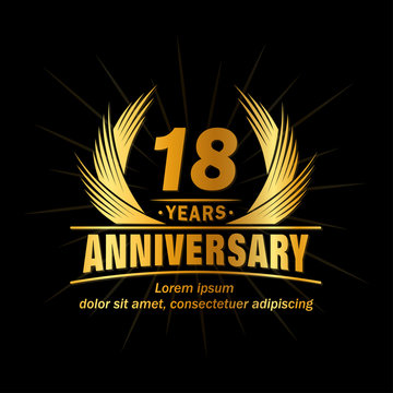 18 years logo design template. Anniversary vector and illustration template.