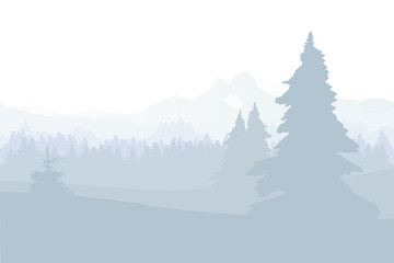 Christmas. Winter landscape with trees, hills and mountains, flat design vector illustration