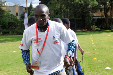 Eliud Kipchoge, the marathon world record holder, takes part in a team building exercise during 2019 Athletes Annual Conference in Eldoret