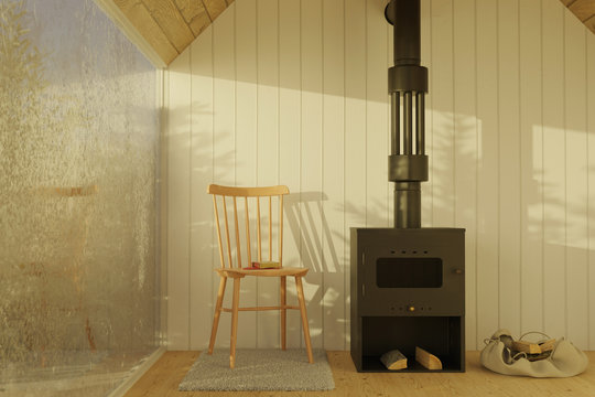 3d rendering of wooden chalet with steel fireplace next to the frozen window