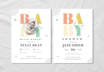 Baby Announcement and Shower Layout Set