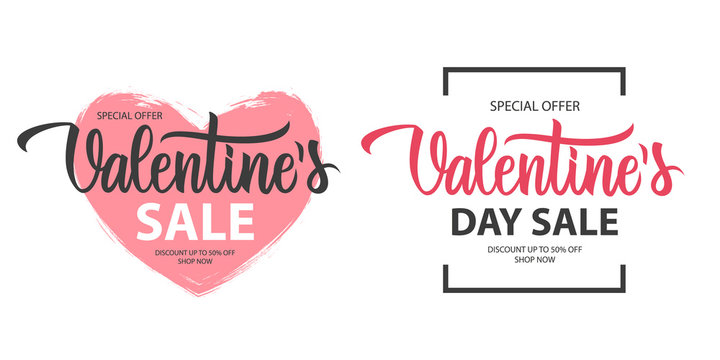 Valentines Sale promotional labels templates set. Valentine's Day special offer text design with hand lettering for business, holiday shopping, promotion and advertising. Vector illustration.