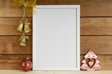 White blank wooden frame mockup. Christmas mockup