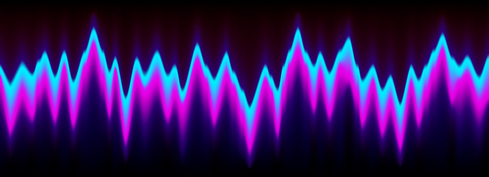 Neon music equalizer, magnetic or sonic wave techno vector background.