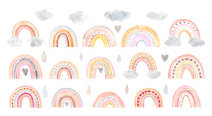 Watercolor hand painted cute rainbow. Illustration isolated on white background.