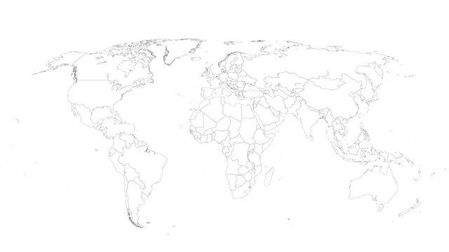 World Map Vector Illustration on White Isolated Background. Flat Blank world map. Eps 10